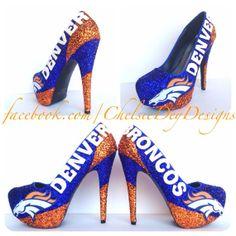 Denver Broncos Glitter High Heels by ChelsieDeyDesigns on Etsy Denver Broncos Shoes, Denver Broncos Womens, Broncos Gear, Denver Broncos Football, Go Broncos, Broncos Fans, Glitter High Heels, Bling Shoes, Open Toe High Heels