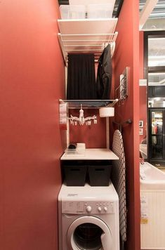 Optimize your small space & learn trick how to organize your dryer sheets, laundry room cabinet & other laundry room essentials Small Laundry Rooms, Laundry Room Design, Laundry In Bathroom, Hidden Laundry, Ikea Small Spaces, Small Rooms, Small Apartments, Laundry Room Remodel, Laundry Room Cabinets
