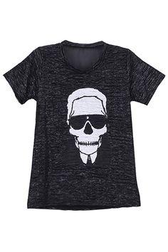 """Dual-tone """"Skull"""" Black T-shirt #romwe"""