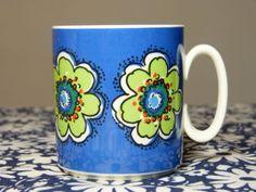 Tasse-mug-VILLEROY-BOCH-decor-fleur-bleu-rare-collector-vintage-annees-60-70 / Rare flower decor Villeroy & Boch mug - blue - French 60s 70s vintage