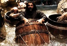 Richard Armitage as Thorin Oakenshield in The Hobbit Trilogies (2012-2014) Thorin in a barrel (gif)