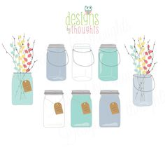 Mason Jars with Flowers - Digital Hand Drawing for Scrapbooking, Card Making, and all of your DIY ideas.  Instant Download by Etsy. $4.50, via Etsy.