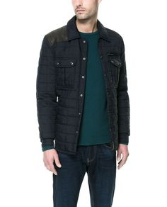QUILTED OVERSHIRT WITH FAUX LEATHER APPLIQUÉ- ZARA