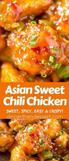 Asian Sweet Chili Chicken - Dinner, then Dessert- Asian Sweet Chili Chicken is so crispy, sticky, sweet, slightly spicy and completely addicting you won& even miss your favorite Asian takeout. Sweet Chili Chicken, Sweet Chili Wings Recipe, Sriracha Chicken, Smoked Chicken, Lime Chicken, Grilled Chicken, Cooking Recipes, Healthy Recipes, Spicy Food Recipes