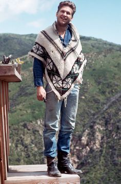 Mar 1973 A young Jeff Bridges went for a laid-back look at home in Malibu, CA  The Best Ponchos in Fashion and Pop Culture History
