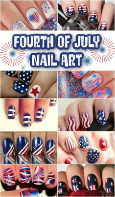 Celebrate the 4th of July this year with some fabulous nail art. So many cute and easy designs in this bunch. Cute Nail Art Designs, Christmas Nail Art Designs, Holiday Nail Art, Easy Nail Art, Cool Nail Art, Blue Nails, My Nails, White Nails, Patriotic Nails