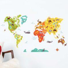 Animal World Map Decal | dotandbo.com  #DotandBoDream @Hilda Helen Castillo thought of you!
