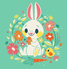 Sweetest Easter Bunny Art Print by therewillbecute Easter Illustration, Rabbit Illustration, Bunny Drawing, Bunny Art, Easter Drawings, Easter Paintings, Easter Art, Easter Food, Easter Dinner