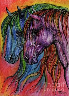 rainbow colored horses, equine art, equestrian, original pen and watercolor pencils painting Watercolor Horse, Pen And Watercolor, Watercolor Pencils, Horse Wall Art, Animal Print Outfits, Pencil Painting, Equine Art, Beautiful Artwork, Rainbow Colors