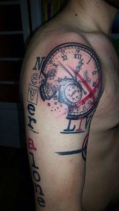 New trash polka tattoo - Swatch - Clock - Red&Black