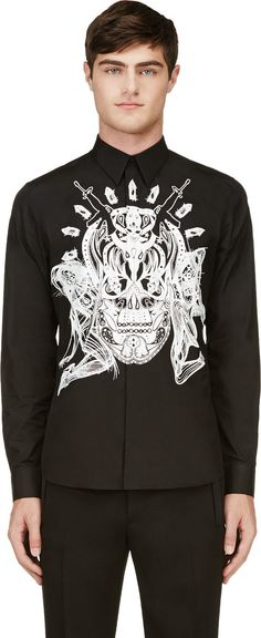 Givenchy Black Card & Skull Print Shirt