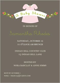 Love the pink and gray on this baby shower invitation for a little girl. The wee dress? Stop it.