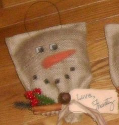 Hand made Burlap Snowman Door Hanger by BackToSimplerTimes on Etsy, $8.00 Primitive Christmas Ornaments, Burlap Christmas, Handmade Ornaments, Christmas Crafts For Kids, Country Christmas, Winter Christmas, Holiday Crafts, Holiday Ideas, Christmas Ideas
