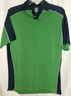 FootJoy ATHLETIC FIT Short Sleeve Golf Polo Shirt (Men's Large) Blue&Green #FootJoy #ShirtsTops