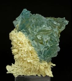 A curious crystal of bicolor Fluorite, whose inner part is yellow and its core is blue, with forms of dissolution extraordinarily well marked, really uncommon for the samples from this locality. It is partially coated by an aggregate of very elongated white scalenohedral crystals of Calcite.  The sample is with a label from the Tom Wiesner collection that we'll send to the buyer.  Annabel Lee Mine, Hardin County, Illinois  USA