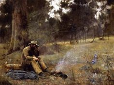 The Heidelberg School was an Australian art movement of the late century. Australian Painting, Australian Artists, Australian Icons, Oscar Wilde, Landscape Art, Landscape Paintings, Australian Bush, Man Sitting, Oil Painting Reproductions