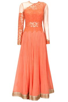 Coral floral dori work anarkali suit available only at Pernia's Pop-Up Shop.
