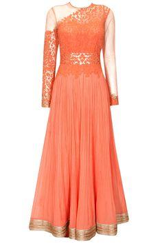 Coral floral dori work anarkali suit  by Ridhi Mehra.     Shop now: http://www.perniaspopupshop.com/designers/Ridhi-Mehra   #shopnow #perniaspopupshop #ridhimehra #sheer #anarkali