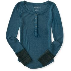 Aeropostale Sweater-Knit Cuff Thermal Henley ($12) ❤ liked on Polyvore featuring tops, kale, slimming tops, slim fit vest, layering cami, blue puffer vest and puffer vest