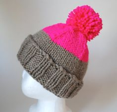 Franklin  Toddler Kids two tone knit hat by LittleKnittyThings