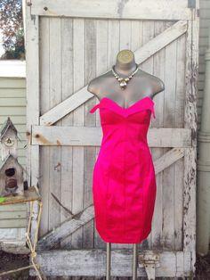 Punk label 80s Betsey Johnson dress 1980s strapless mini dress size small Vintage bright pink cocktail dress by melsvanity on Etsy