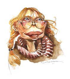 Jan Op De Beeck - Mia Farrow, watercolor sketch.