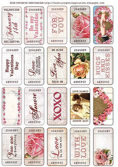 Valentine's day tickets. Free printable vintage style valentine's. Just print on thick white paper, cardstock or similar, cut and play.