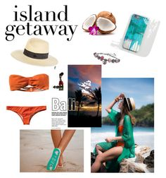 """Island getaway"" by emrah-sekic on Polyvore featuring RVCA, Maison Michel, Palm Beach Jewelry, awesome, orange, strawhat and Bali"