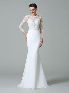 e1e560c65e1 Sweep Brush Train Trumpet Mermaid Jewel Long Sleeves Lace Satin Wedding  Dresses - Wedding