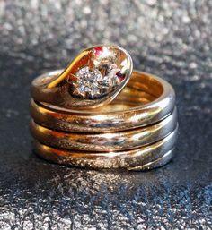 Antique Snake Ring 14K Gold Diamond Ruby 13.99 Grams 1800s Wedding Engagement Egyptian Revival by ElegantArtifacts on Etsy