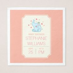 Cute Baby Elephant   Typography Baby Shower Napkin - baby gifts child new born gift idea diy cyo special unique design
