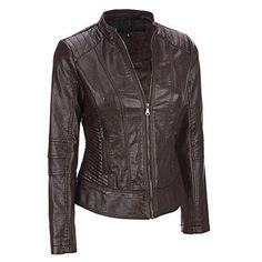 Black Rivet Womens Center Zip Faux-Leather Moto Jacket W/ Quilting