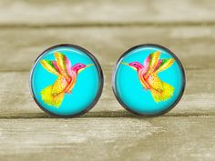 Hummingbird 8 Earrings Jewelry  12mm  Post or by MaDGreenCreations