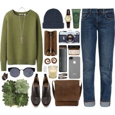 """""""245"""" by kinky-rick on Polyvore olive green sweater, skinny jeans, great brown cross body bag"""