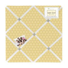 Honey Bee Fabric Memo Board with button detail will show off postcards, notes and photos. Just slip your mementos behind the ribbon to create an engaging piece of original wall art. These adorable memo boards by Sweet Jojo Designs have been created to coordinate with the matching children's bedding sets.