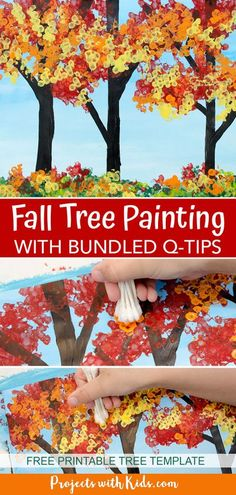 Kids will have fun making this fall tree painting art project using bundled q-tips! Free printable tree template included making this fall craft perfect for kids of all ages. Autumn Activities For Kids, Thanksgiving Crafts For Kids, Halloween Crafts For Kids, Fall Preschool, Fun Activities, Fall Tree Painting, Painting For Kids, Art For Kids, Painting Art
