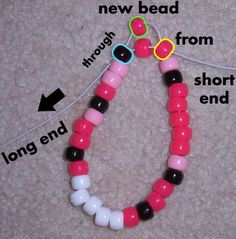 Kandi Tutorials - Hello Kitty Cuff Tutorial - How To Make A Hello Kitty Cuff Diy Kandi Bracelets, Rave Bracelets, Pony Bead Bracelets, Candy Bracelet, Friendship Bracelets With Beads, Summer Bracelets, Pony Beads, Homemade Bracelets, Cute Jewelry