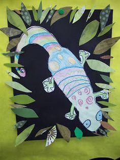 Mrs. Porter's Palette: Geckos in the Style of Henri Rousseau