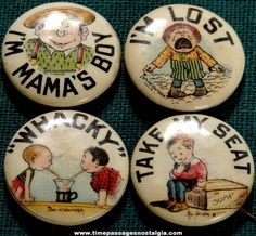 (4) Colorful Old Hassan & Tokio Cigarette Premium Celluloid Pin Back Buttons