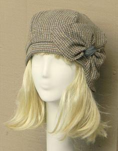 Beret Hat- Vintage Brown Herringbone Wool -with Bow. $65.00, via Etsy.