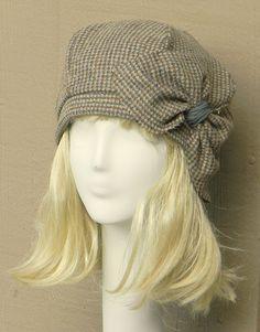 Beret Hat- Vintage Brown Herringbone Wool -with Bow. $65.00, via Etsy.