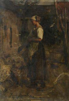 Jules BRETON (1827-1906) Jeune paysanne dans un intérieur de ferme Huile sur toile Signee et datee 1867