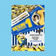 Custom Minions Birthday Party Ticket Invitation