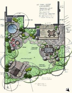 Rain and snow are going to play a huge part in your yard landscaping decisions. For example you will have to plan for your yard landscaping with care. Garden Design Plans, Landscape Design Plans, Patio Design, Landscape Architecture, Small Garden Plans, Architecture Design, Landscape Sketch, Landscape Concept, Watercolor Landscape