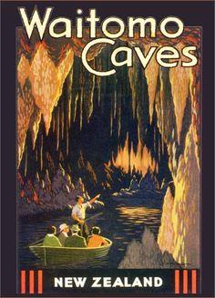 Vintage Poster Waitomo (New Zealand Cave Tubing) Tourism Poster, Poster S, Vintage Travel Posters, Vintage Postcards, Vintage Ski, Beach Trip, Hawaii Beach, Oahu Hawaii, Nz Art