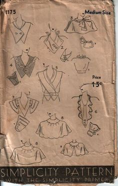 Pattern for dress necklines (some cape-like), bodices, and cuffs.Simplicity # 1175, ca. 1930.