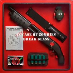Escape death's icy cold grip once the infection spreads by protecting your loved ones with the zombie apocalypse glass cabinet. When all hell breaks loose, you can count on the contents in this invaluable cabinet to help you live to see another day. Vampires, Zombie Apocalypse Survival, In Case Of Emergency, Emergency Kits, Cool Gadgets, Game Room, Just In Case, Man Cave, Geek Stuff