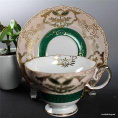 Vtg Japan Pink Green Gold Lusterware China Pedestal Tea Cup Saucer Set