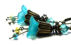 Turquoise Tulip Flower Earrings - Antique bronze tulip bead caps - Aqua and Yellow Swarovski crystals by LaurenceCollection on Etsy