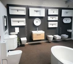 Aromabath has now taken on Catalano in there premier showroom situated in Seven Kings, Essex. Catalano is proving to be very popular in. Showroom Design, Bath Showroom, Shop Interior Design, Store Design, Showroom Ideas, Bathroom Showrooms, Bathroom Interior, Large Bathrooms, Small Bathroom